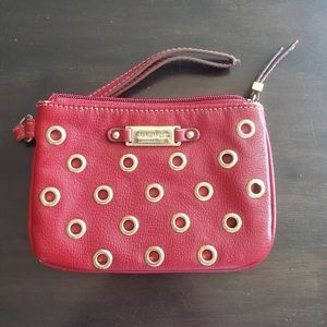 Red Nine West Wristlet with Leopard Print Interior